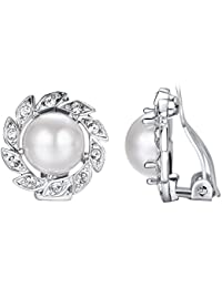 Yoursfs Windmill Shaped Clip On Earrings with Shell Pearl Fashion Jewellery for Women 18ct White/Rose Gold Plated Unique Earring Mother's Day Present