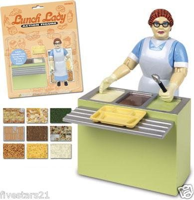 Lunch Lady Action Figure cafetria worker food service employee hair net lunch tray counter gag gift toy