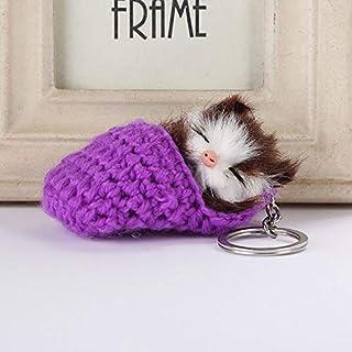 OSYARD Schlüsselanhänger,Keychain,Niedlicher Schlaf Kätzchen Haar Ball Handy Rucksäcke Anhänger Süßer Schlüsselbund Dekor Schlüsselring Plüsch Keyring Zubehör für Frauen Mädchen