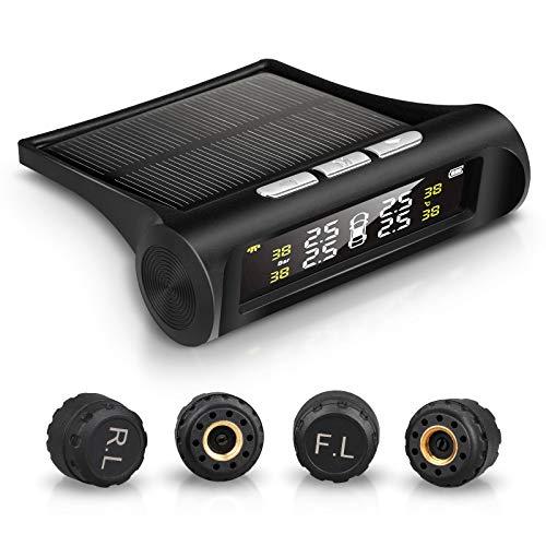 EEEKit TPMS Reifendruckkontrollsystem, Solar-TPMS-Tool mit 4 externen Sensoren (0-3,5 Bar / 0-50.75Psi), Echtzeit-LCD-Anzeige 4 Reifendruck und -temperatur, Autoalarmsystem -