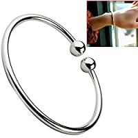 Safekom 925 Sterling Silver Open Bead Copper Plating Bangle Bracelet Solid Silver Plated Chrome Bracelets For Ladies Party Gift Girls Women - 1 Year Warranty Free & Fast Same Day Dispatch