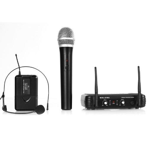 Malone UHF-250 Duo 3 • 2-Kanal UHF-Funkmikrofon Set • Funk-Mikrofon System • 1 x kabelloses Handmikrofon • 1 x kabelloses Headset Mikrofon • Frequenzband: 823 - 832 MHz • LED • lange Betriebszeiten • 2 x XLR- und 1 x Klinken-Ausgang • schwarz (Mikrofon Headset, Xlr)