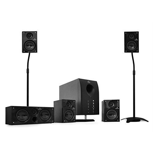 auna Flash 5.1 Heimkino Surround System (95 Watt RMS Leistung, 5 Satelliten + 1 Subwoofer, separat regelbare Lautstärke, Stative) schwarz