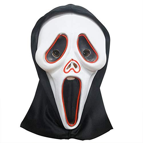 WYJSS Party Story Halloween Screaming Mask Leuchtende Maske Erwachsener Schädel Horror Ghost Skeleton Latex Maske Cosplay Lustige Geschenke Dress Up Requisiten,White-OneSize (Halloween Horror Story-ideen)