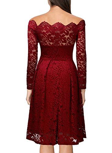 Miusol Damen Vintage 1950er Off Schulter Cocktailkleid Retro Spitzen Schwingen Pinup Rockabilly Kleid - 2