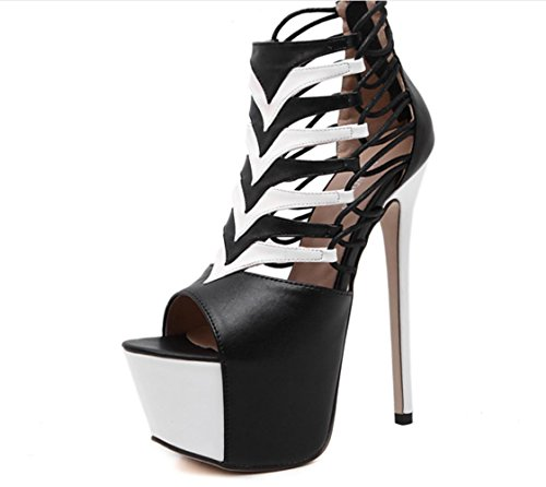 YCMDM Sandales à talons ouverts à talons ouverts à la mode YCMDM black / white