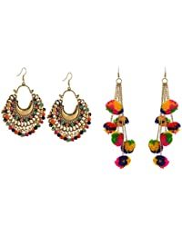 Michelangelo Fashion Oxidized Silver Afghani Tribal Dangler Hook Chandbali Earrings And POM POM EARRINGS For Girls...