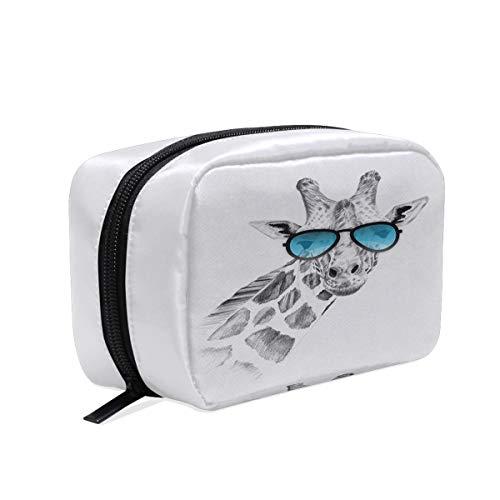 Handgezeichnete Giraffe mit Sonnenbrille, Make-up-Tasche, Kosmetiktasche, Kulturbeutel, Reisetasche für Frauen, tragbare Organizer, Aufbewahrungstasche