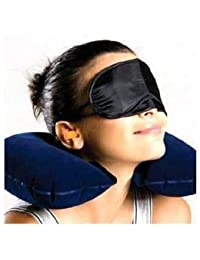 HARLLYCTION Pillow 3 In 1 Super Soft Travel Neck Pillow Easy To Carry Multi Utility Travel Kit With Eye Mask And...