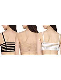 BEYOND BEAUTY 6 Strap Padded Trio Combo Bra(Removable Pads) Size:Free 28 to 34