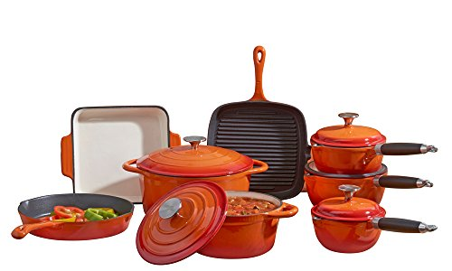 Cooks Professional Deluxe Cast Iron Heavy Gauge Cookware Complete 8 Piece Cooking Set by (Orange)
