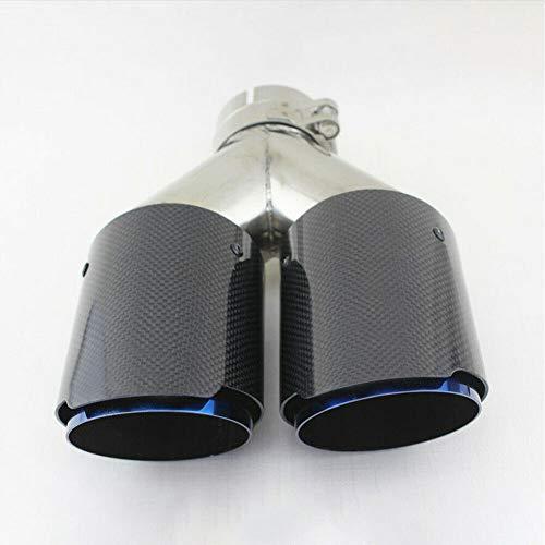 GCDN Endrohrsysteme Auto Universal Throat Dual Rear Carbon Fiber Straight Auspuff Liner Styling Zubehör Schalldämpfer Spitze, glänzend schwarz, Free Size (Endschalldämpfer, Schwarze Spitze)