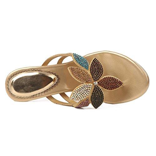 SYYAN Damen PU Strasssteine Blumen Offener Zeh Handgemacht Sandalen Hausschuhe Gold Gold