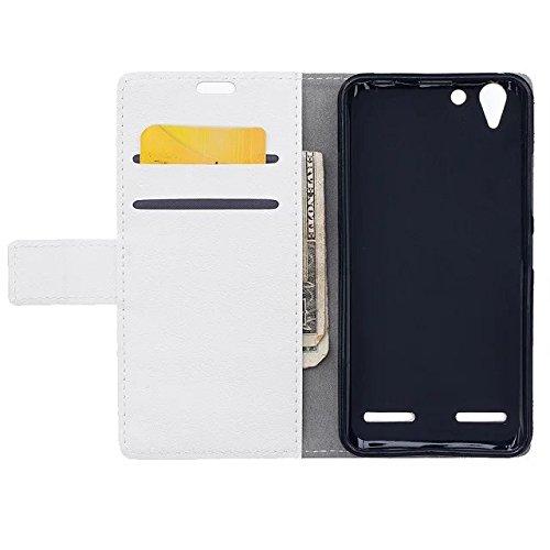 Solid Color Kas Textur Muster Leder Schutzhülle Case Horizontal Flip Stand Case mit Kartensteckplätze für Lenovo K5 K5 Plus ( Color : Red , Size : Lenovo K5 K5 Plus ) White