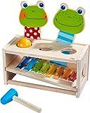 HABA 304271 - Klang-Klopfbank Froschkonzert, Klopfbank und Metallophon mit Kugel und Schlägel, Spielzeug ab 2 Jahren