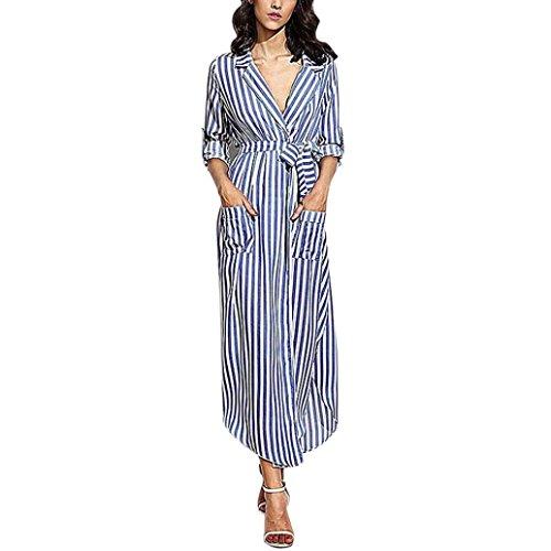 Kleider Damen, Bekleidung Longra Damen Stripe Belted Deep V Neck Langarm Top Bluse Langes Maxi Kleid (M/38, Blue) (V-neck Blue-stripe)