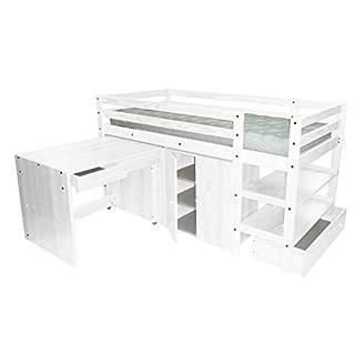 ABC MEUBLES - Kompakte Bett Wendy 90x190 cm - LITWENDY - Weiß, 90x190