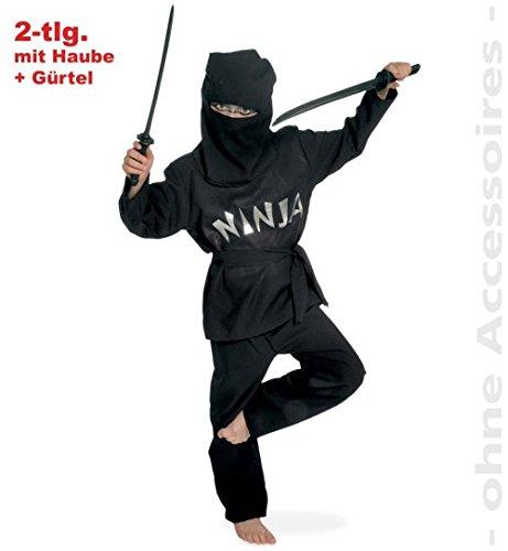 Black Ninja 2tlg mit Gürtel u Kopfbedeckung Kinder Kostüm Gr (Kopfbedeckung Ninja)