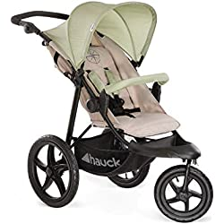 Hauck Runner - silla de paseo, silla running con 3 ruedas neumaticas, plegado compacto, ruedas XL con camara de aire, para recien nacidos, apto para niños hasta 25kg, oil (beige)