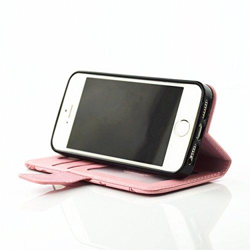 PU für Apple iPhone 5 5S SE Hülle,Geprägte Campanula Handyhülle / Tasche / Cover / Case für das Apple iPhone 5 5S SE PU Leder Flip Cover Leder Hülle Kunstleder Folio Schutzhülle Wallet Tasche Etui Sta 6