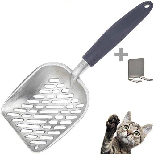 Katzenstreuschaufel,Streuschaufel,Tonyhoney Haltbare Aluminium Katzenklo Kotschaufel mit Halterung geliefert für Katzen Haustier,Grau,Aluminiumlegierung,35 * 15 * 4 cm