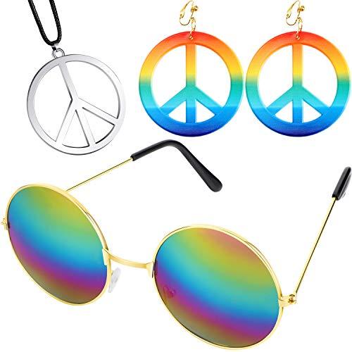 meekoo 60s 70s Hippie Ankleiden Zubehör Set, Einschließen Frieden Zeichen Ohrringe und Halsketten, Hippie Stil Brille für Thema Party oder Halloween (Der Halloween-kostüme Jahre 1970er)