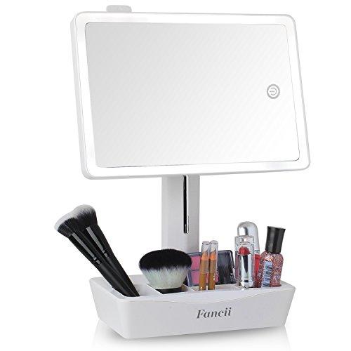 Fancii praktischer 4-in-1 Schminkspiegel I Beleuchteter LED Spiegel + 10-Fach Vergrößerung ausziehbar + 5-Fächer für Make Up & Co I 23x16cm großer Kosmetikspiegel mit Licht schwenkbar dimmbar