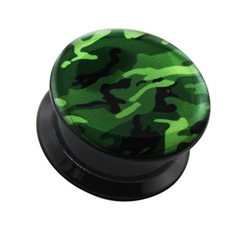 16MM Camouflage Logo interne Gewinde doppelt ausgestellte schwarz UV Ohr Piercing Plug -