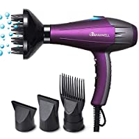 Basuwell Hair Dryer Professional Ionic Hairdryer 2100W Salon Fast Blow Dryers 3 Heat 2 Speed Settings Low Noise Far Infrared AC Motor With Hair Diffusers/Nozzle/Comb/UK Plug - Purple
