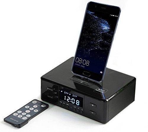 Digital NFC Bluetooth Lautsprecher Dual Wecker FM Radio Ladestation für IOS Android + Fernbedienung (Subwoofer 15 Paket)