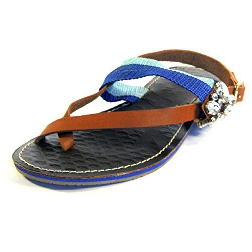 juice-couture-deluxe-flat-sandle-for-women-in-blue-brown-uk-size-35