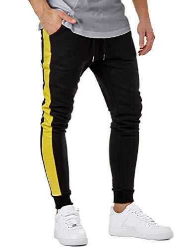 Minetom Homme Pantalons Harem Couleur Unie Elastique Sport Pants Baggy Cheville Coton Loisirs Sportwear Pantacourt Longue Lache Noir - Jaune Medium