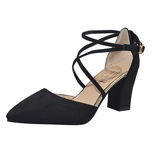 YEARNLY Damen Pumps Knöchel-Riemchen Blockabsatz Pointed Toe Sandalen Schwarz, Grau, Pink, Armeegrün 34-40 Lauren High Heels