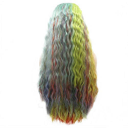 Drag Queen Peluca amarillo naranja azul verde púrpura mezcla colorido encaje frontal pelucas para mujer...