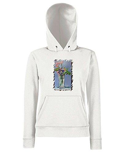 T-Shirtshock - Sweats a capuche Femme TDA0016 manet193 vaso di cristallo con fiori Blanc