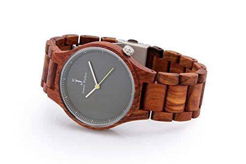 James Walker Damen und Herren Holzuhr Yellow Edition als handgefertigte Holz Armbanduhr aus echtem Sandelholz im nordirischem Design Torr