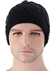 Inalámbrico Beanie Hat – Megadream invierno cálido desmontable inalámbrico Bluetooth + EDR Auriculares Auriculares de música MP3 audio Beanie Hat Cap con control de volumen estéreo & altavoces & manos libres Micrófono lavable Unisex gorro de invierno de punto con ganchillo baggy boina Beanie Cap Navidad regalos para fitness deportes al aire libre Ciclismo, 5 colores disponibles, color Black Music Hat, tamaño For Bluetooth Enable Devices