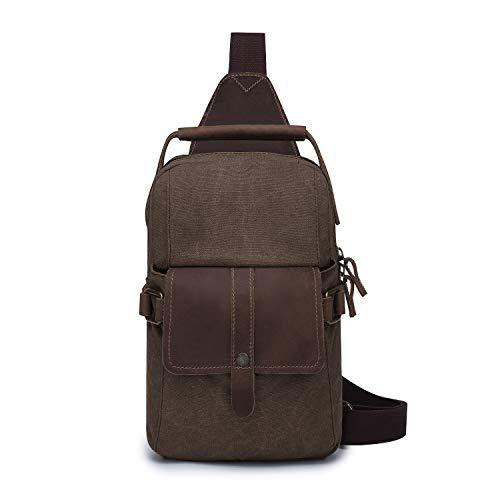 Wind Took Herrentasche Sling Rucksack Canvas & Leder Brusttasche Schultertasche Crossbody Bag Umhängetasche Messenger Bag für Wandern Schule Arbeiten Geschäft Reise (C - Kaffee)