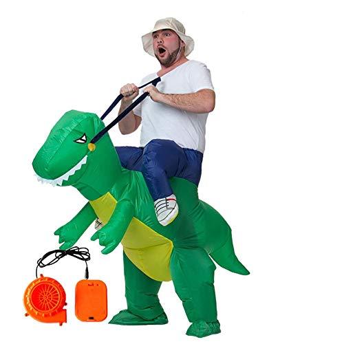 Kostüm Dinosaurier Frauen - ASKEN Männer Frauen Aufblasbare Dinosaurier Kostüme Halloween Karneval Ridding Huckepack Drachen Cosplay Outfit Grün Adult Size