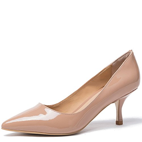Leder-patent Leder Heels (Damen Spitz Pumps Lackleder Kitten Heel Absatz Pointed Toe Klassischer Damenschuh Beige (38, Nude patent))