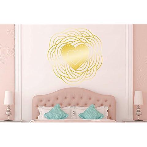 Cuore A Spirale Vinile Adesivi Murali Decals - Grande (Altezza 57cm x Larghezza 57cm) Oro Lucente