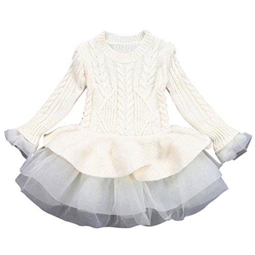 Longra Kinder Mädchen Strickjacke Winter Pullover Häkeln Tutu Kleid Tops Mädchen Strick Kleider(3-7Jahre) (120CM 5Jahre, (Beige Mädchen Turnanzug Langarm Kostüme)
