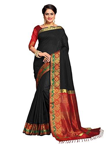 Kanchnar Women's Black Color Cotton Silk Jacquard Saree-753S7510
