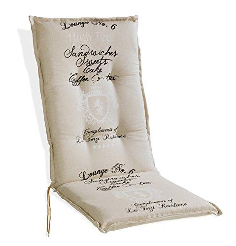 Sesselauflage Sitzpolster Gartenstuhlauflage für Hochlehner DABUR 1 | 50x120 cm | Natur | Baumwolle