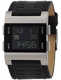 Quiksilver M029AL/BLK - Reloj analógico de caballero de cuarzo con correa de piel negra (alarma, luz, cronómetro) - sumergible a 50 metros