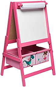 Home Canvas Sunshine Unicorn Design Kids' Standing Wooden Art Easel Double-sided with Blackboard, Two Storage