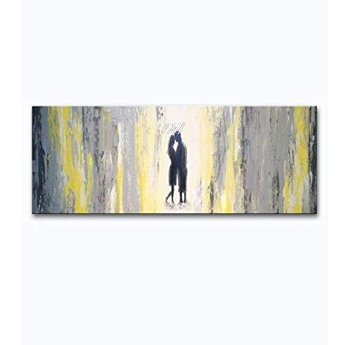 RALCAN Handgemalte Abstrakte Leinwand Ölgemälde Moderne Liebhaber Mit Regenschirm Kunstwerk Wandbild Für Wohnzimmer Wanddekor Kunst-100X160cm(40X64Inch)