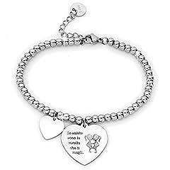 Idea Regalo - Beloved ❤️ Bracciale da donna, braccialetto in acciaio emozionale - frasi, pensieri, parole con charms - ciondolo pendente - misura regolabile - incisione - argento - tema famiglia (MF8)