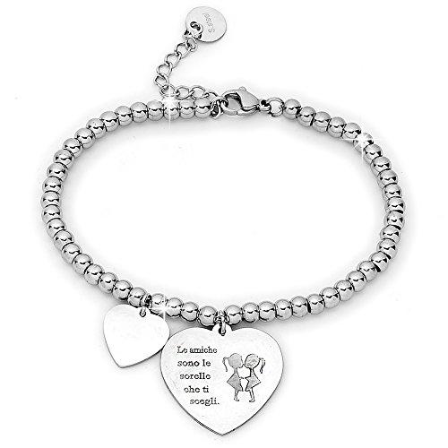 Beloved ❤️ bracciale da donna, braccialetto in acciaio emozionale - frasi, pensieri, parole con charms - ciondolo pendente - misura regolabile - incisione - argento - tema famiglia (mf8)