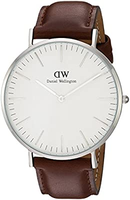 Daniel Wellington - Reloj analógico para caballero con pulsera de cuero marrón (embalaje Amazon)
